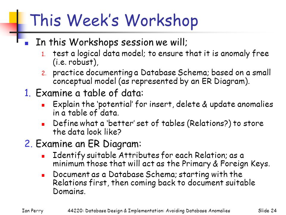 Ian PerrySlide 2444220: Database Design & Implementation: Avoiding Database Anomalies This Week's Workshop In this Workshops session we will; 1.