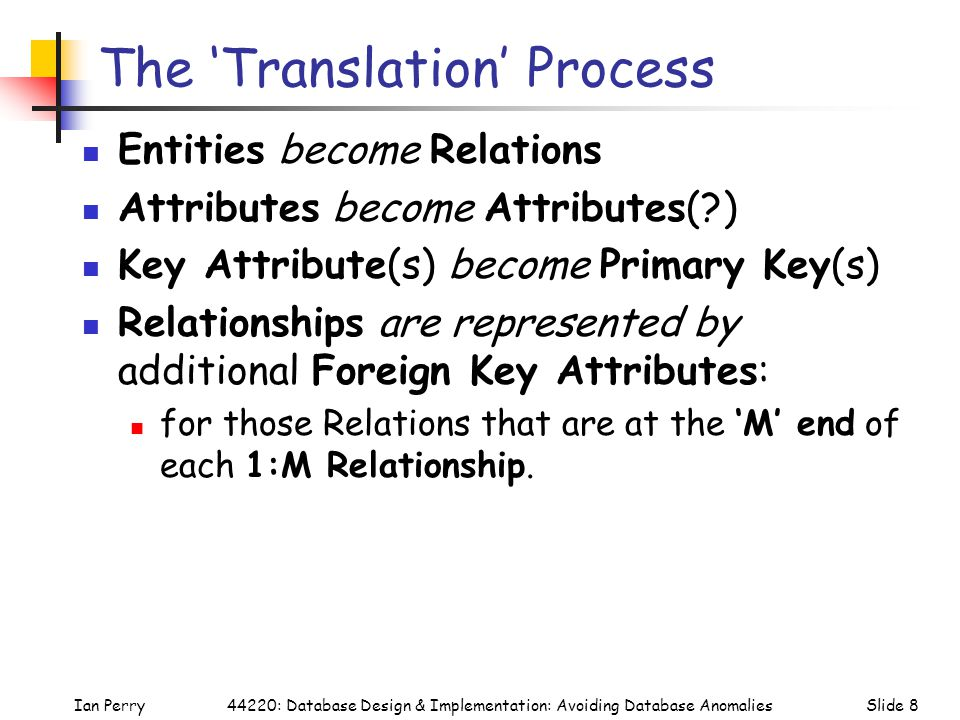 Ian PerrySlide 844220: Database Design & Implementation: Avoiding Database Anomalies The 'Translation' Process Entities become Relations Attributes become Attributes( ) Key Attribute(s) become Primary Key(s) Relationships are represented by additional Foreign Key Attributes: for those Relations that are at the 'M' end of each 1:M Relationship.