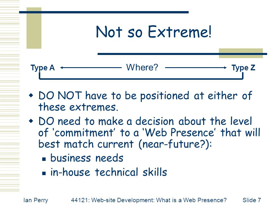 Ian Perry44121: Web-site Development: What is a Web Presence Slide 7 Not so Extreme.