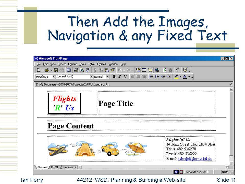 Ian Perry44212: WSD: Planning & Building a Web-siteSlide 11 Then Add the Images, Navigation & any Fixed Text