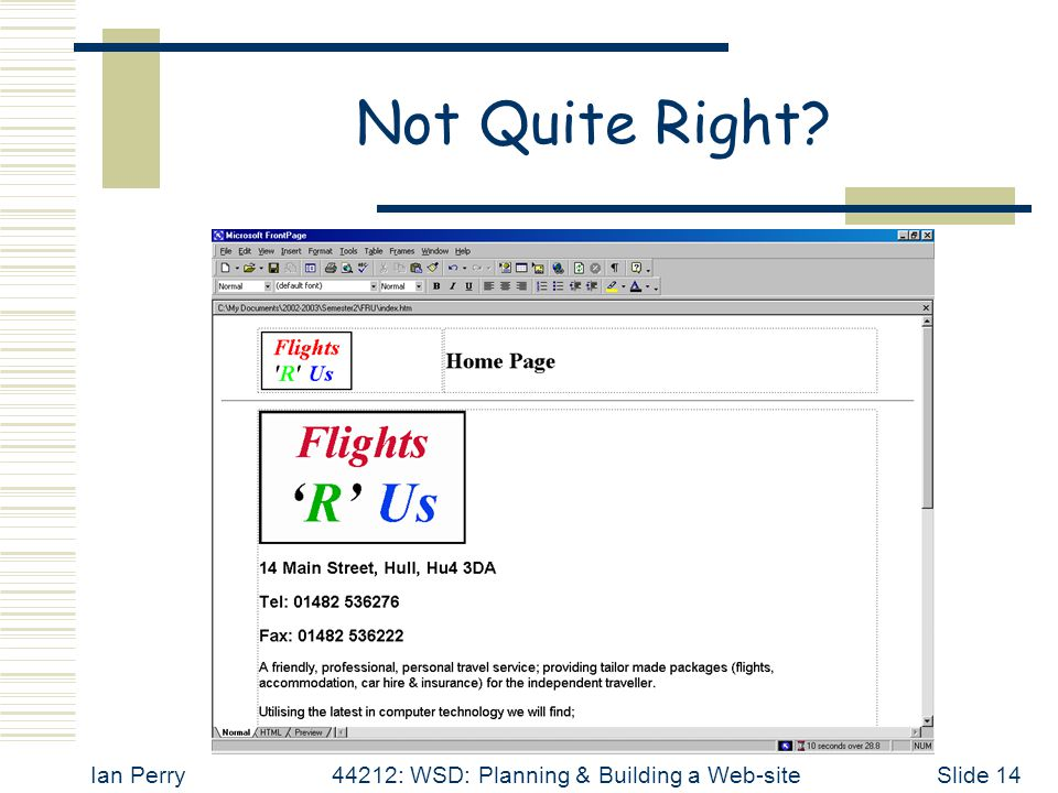 Ian Perry44212: WSD: Planning & Building a Web-siteSlide 14 Not Quite Right?