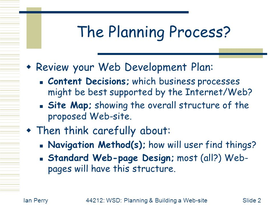 Ian Perry44212: WSD: Planning & Building a Web-siteSlide 13 Use the 'Standard' - 2  Examine the results and make any necessary adjustments.
