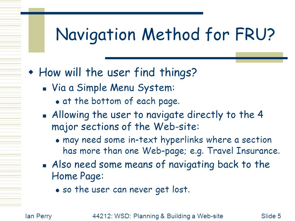 Ian Perry44212: WSD: Planning & Building a Web-siteSlide 5 Navigation Method for FRU.