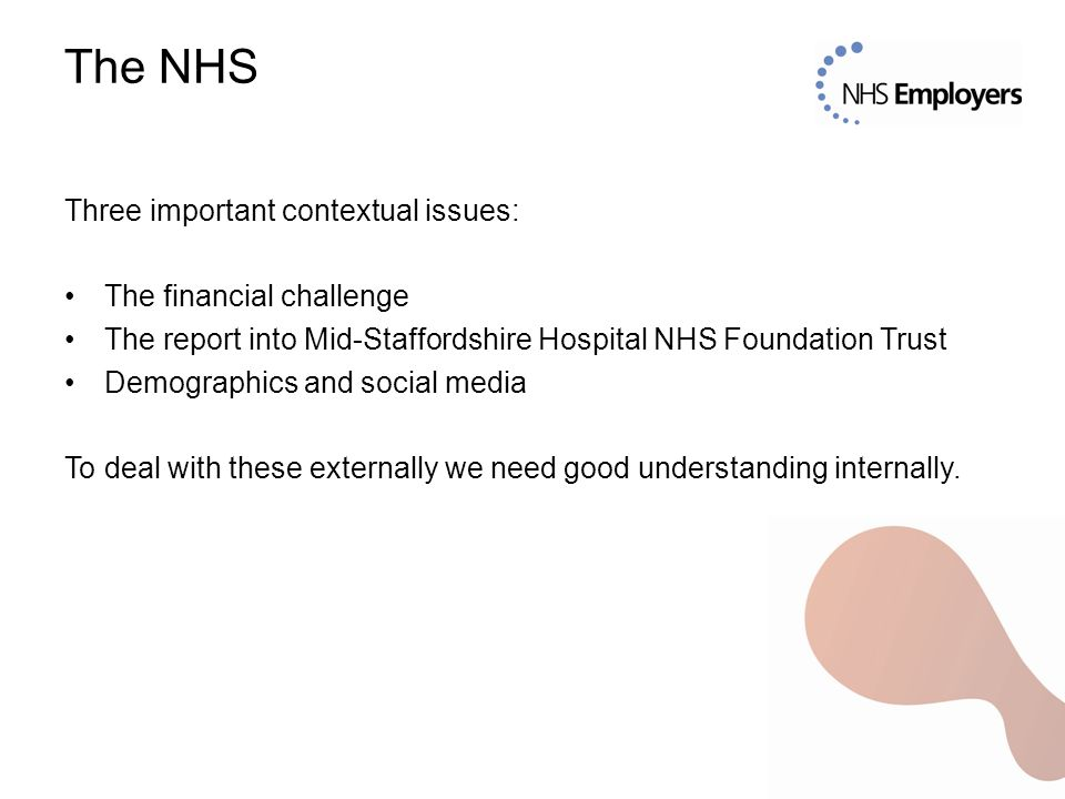 The NHS Three important contextual issues: The financial challenge The report into Mid-Staffordshire Hospital NHS Foundation Trust Demographics and social media To deal with these externally we need good understanding internally.