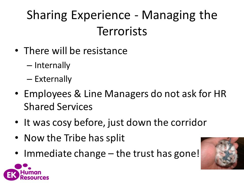 Sharing Experience - Managing the Terrorists There will be resistance – Internally – Externally Employees & Line Managers do not ask for HR Shared Ser