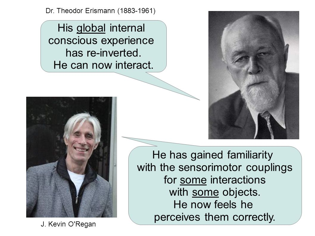 His global internal conscious experience has re-inverted. He can now interact. He has gained familiarity with the sensorimotor couplings for some inte