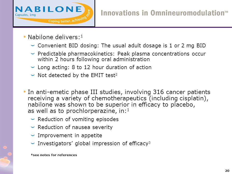 20 Nabilone delivers: 1 Convenient BID dosing: The usual adult dosage is 1 or 2 mg BID Predictable pharmacokinetics: Peak plasma concentrations occur
