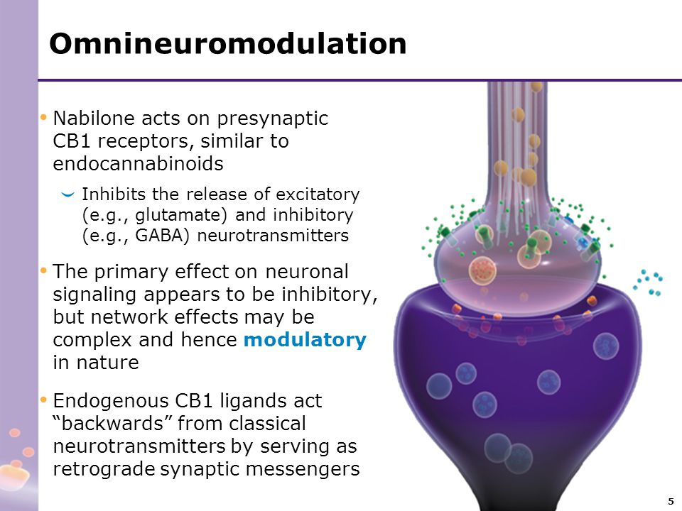 5 Omnineuromodulation Nabilone acts on presynaptic CB1 receptors, similar to endocannabinoids Inhibits the release of excitatory (e.g., glutamate) and