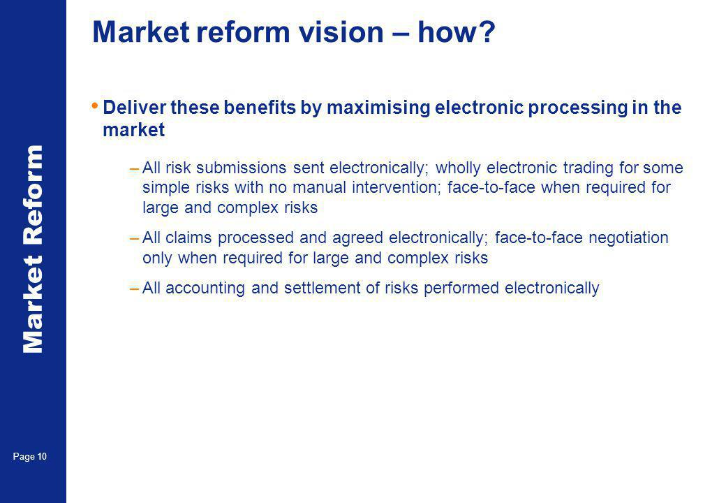 Market Reform Page 10 Market reform vision – how? Deliver these benefits by maximising electronic processing in the market –All risk submissions sent