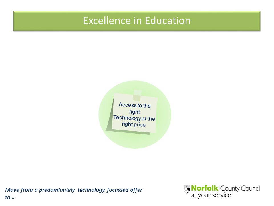 Excellence in Education Access to the right Technology at the right price Move from a predominately technology focussed offer to…