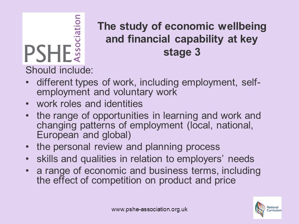 www.pshe-association.org.uk The study of economic wellbeing and financial capability at key stage 3 Should include: different types of work, including employment, self- employment and voluntary work work roles and identities the range of opportunities in learning and work and changing patterns of employment (local, national, European and global) the personal review and planning process skills and qualities in relation to employers' needs a range of economic and business terms, including the effect of competition on product and price
