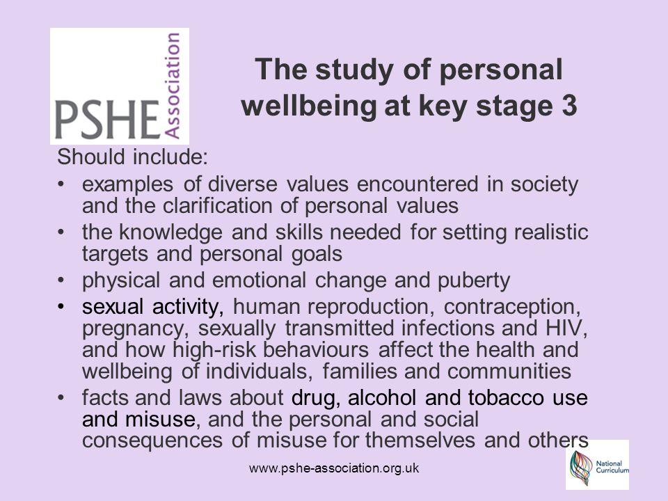 www.pshe-association.org.uk The study of personal wellbeing at key stage 3 Should include: examples of diverse values encountered in society and the clarification of personal values the knowledge and skills needed for setting realistic targets and personal goals physical and emotional change and puberty sexual activity, human reproduction, contraception, pregnancy, sexually transmitted infections and HIV, and how high-risk behaviours affect the health and wellbeing of individuals, families and communities facts and laws about drug, alcohol and tobacco use and misuse, and the personal and social consequences of misuse for themselves and others