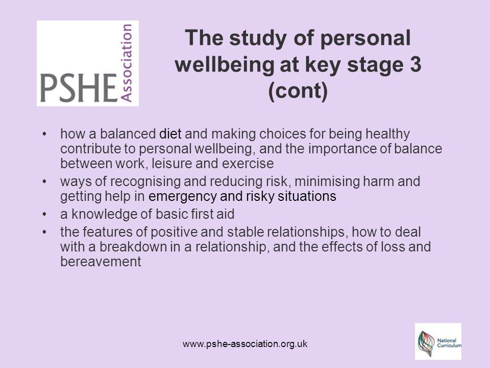 www.pshe-association.org.uk The study of personal wellbeing at key stage 3 (cont) how a balanced diet and making choices for being healthy contribute to personal wellbeing, and the importance of balance between work, leisure and exercise ways of recognising and reducing risk, minimising harm and getting help in emergency and risky situations a knowledge of basic first aid the features of positive and stable relationships, how to deal with a breakdown in a relationship, and the effects of loss and bereavement
