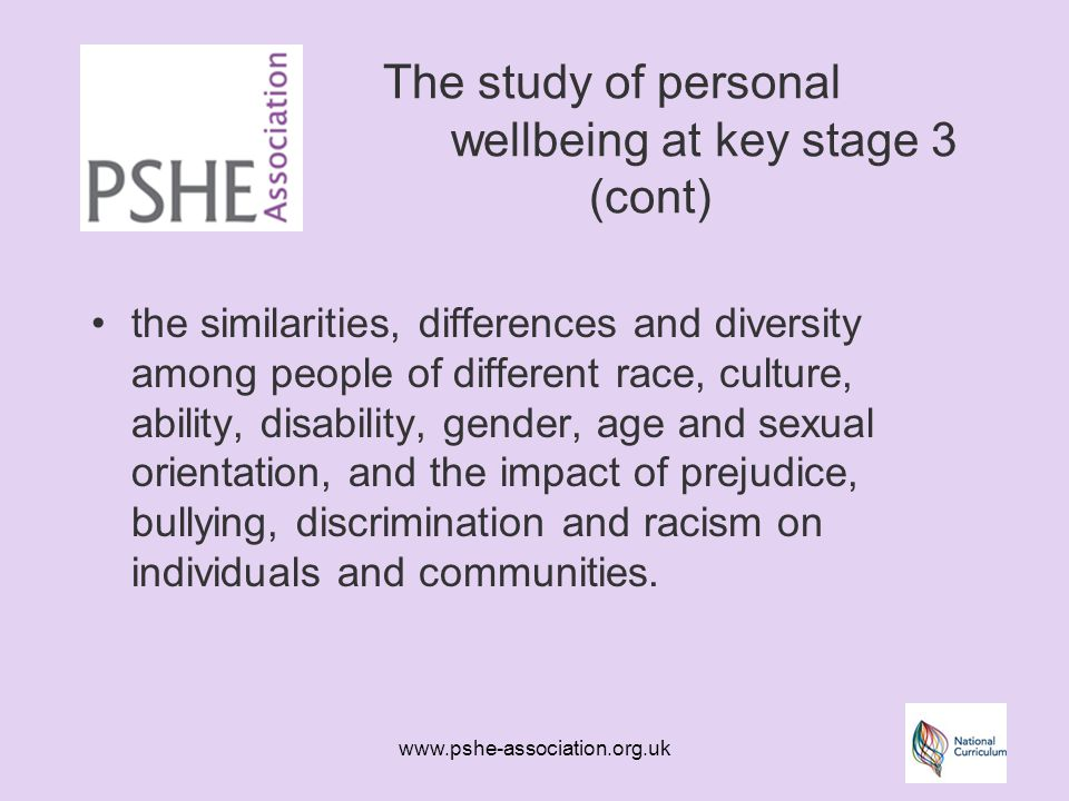 www.pshe-association.org.uk The study of personal wellbeing at key stage 3 (cont) the similarities, differences and diversity among people of different race, culture, ability, disability, gender, age and sexual orientation, and the impact of prejudice, bullying, discrimination and racism on individuals and communities.