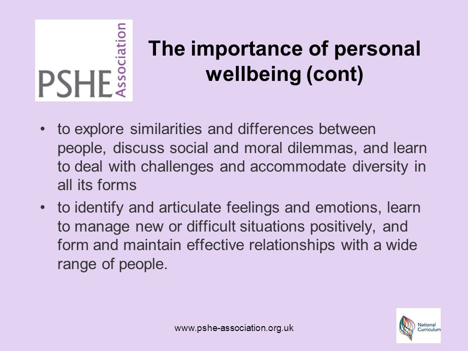 www.pshe-association.org.uk The personal wellbeing curriculum at key stage 3 Should provide opportunities for young people to: make real choices and decisions based on accurate information obtained through their own research using a range of sources, including the internet, other media sources and visits/visitors to and from the wider community meet and work with people from the wider community both in school and through external visits use case studies, simulations, scenarios and drama to explore personal and social issues and have time to reflect on them in relation to their own lives and behaviour