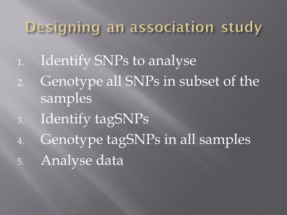 1.Identify SNPs to analyse 2. Genotype all SNPs in subset of the samples 3.