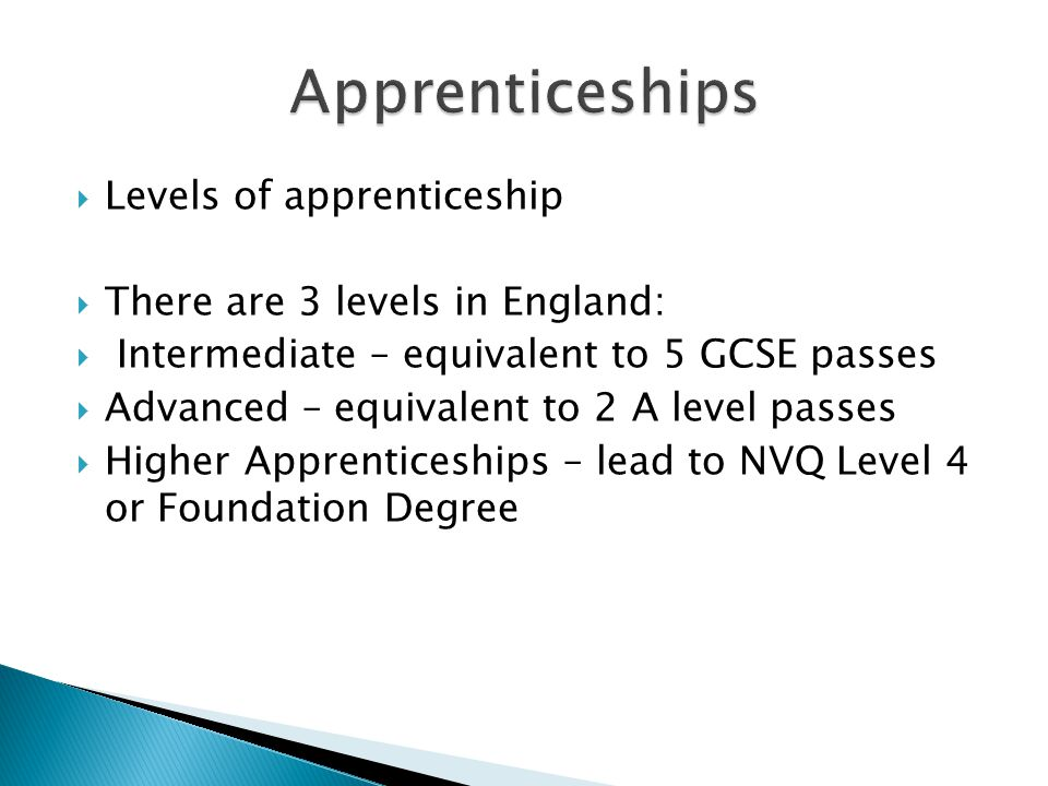  Levels of apprenticeship  There are 3 levels in England:  Intermediate – equivalent to 5 GCSE passes  Advanced – equivalent to 2 A level passes  Higher Apprenticeships – lead to NVQ Level 4 or Foundation Degree