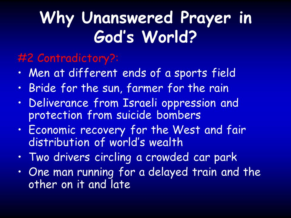 Why Unanswered Prayer in God's World.
