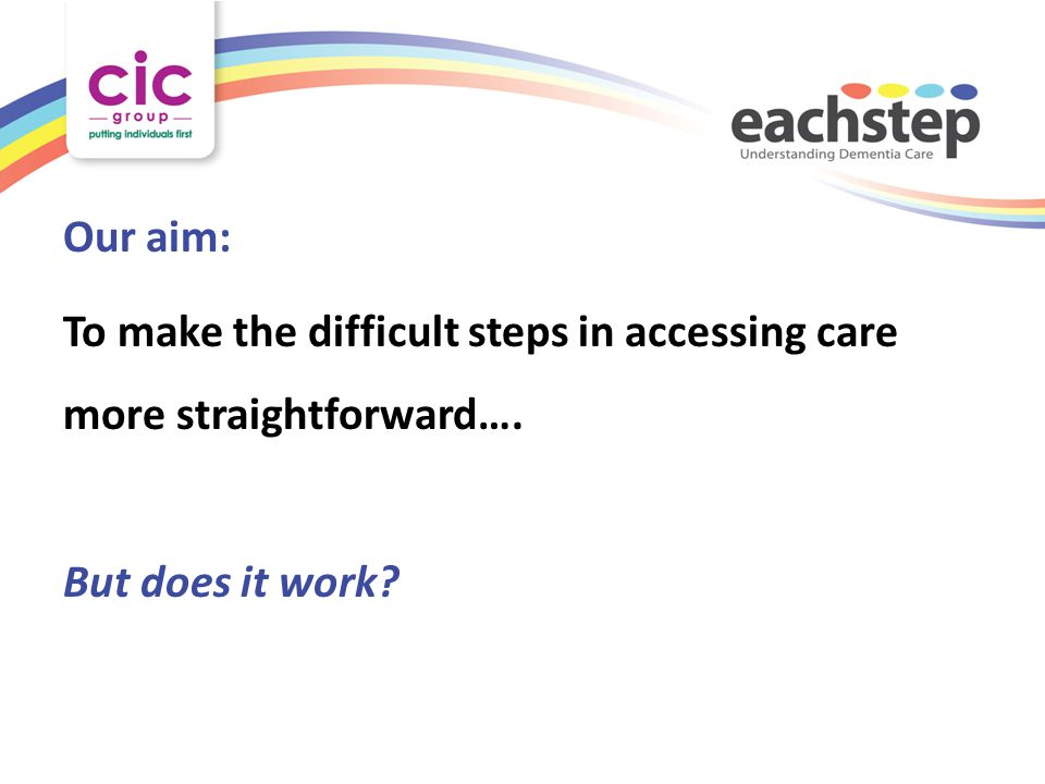 Our aim: To make the difficult steps in accessing care more straightforward…. But does it work