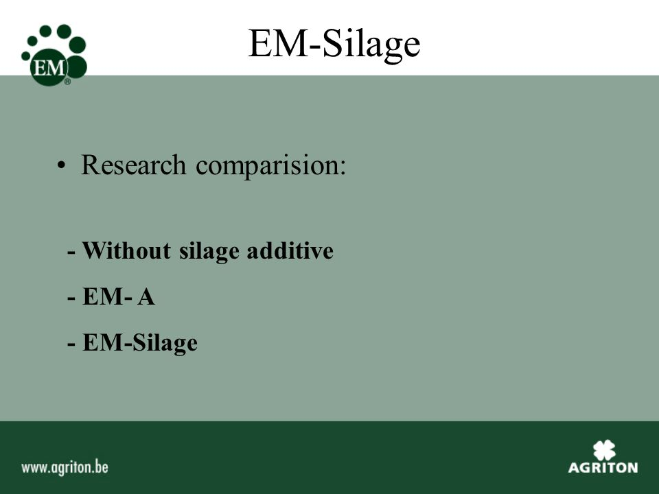 EM-Silage Materials: Grass - Cutting date 7-05-2001 -Field period 40 hours -DM percentage 50% - Picked up by cutting harvester