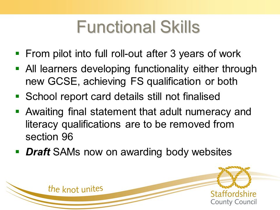 Functional Skills   From pilot into full roll-out after 3 years of work   All learners developing functionality either through new GCSE, achieving