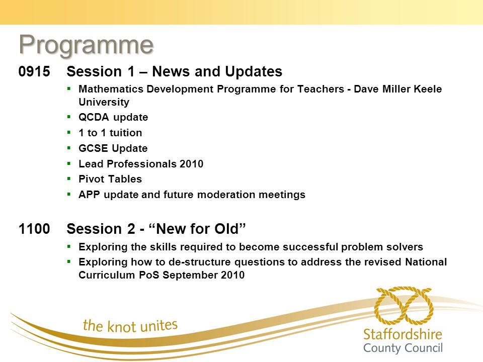 Programme 0915Session 1 – News and Updates   Mathematics Development Programme for Teachers - Dave Miller Keele University   QCDA update   1 to