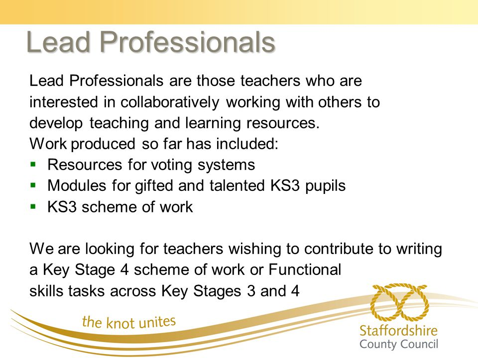 Lead Professionals Lead Professionals are those teachers who are interested in collaboratively working with others to develop teaching and learning re
