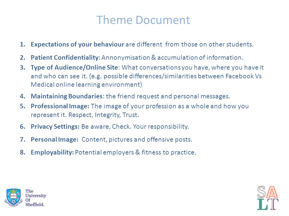 Theme Document 1.Expectations of your behaviour are different from those on other students.