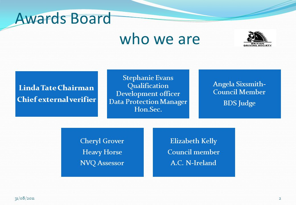 Awards Board who we are 31/08/20112 Linda Tate Chairman Chief external verifier Stephanie Evans Qualification Development officer Data Protection Mana