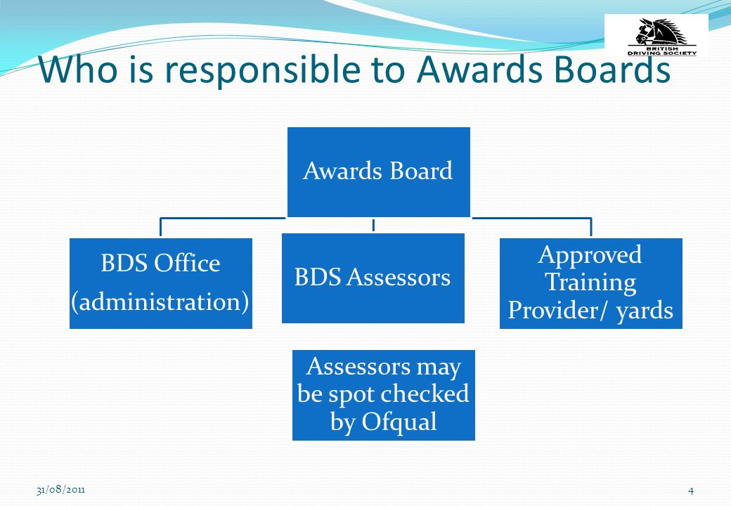 Who is responsible to Awards Boards 31/08/20114 Assessors may be spot checked by Ofqual Awards Board BDS Office (administration) BDS Assessors Approve