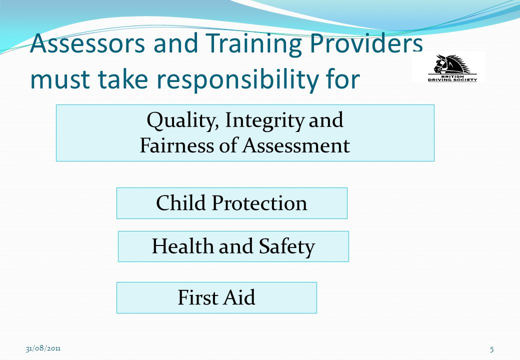 Assessors and Training Providers must take responsibility for 31/08/20115 Quality, Integrity and Fairness of Assessment Health and Safety Child Protec