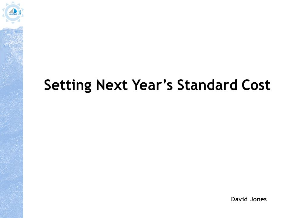 Setting Next Year's Standard Cost David Jones