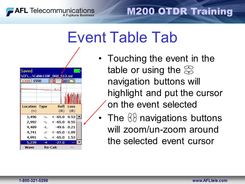 M200 OTDR Training 1-800-321-5298www.AFLtele.com Event Table Tab Touching the event in the table or using the navigation buttons will highlight and pu