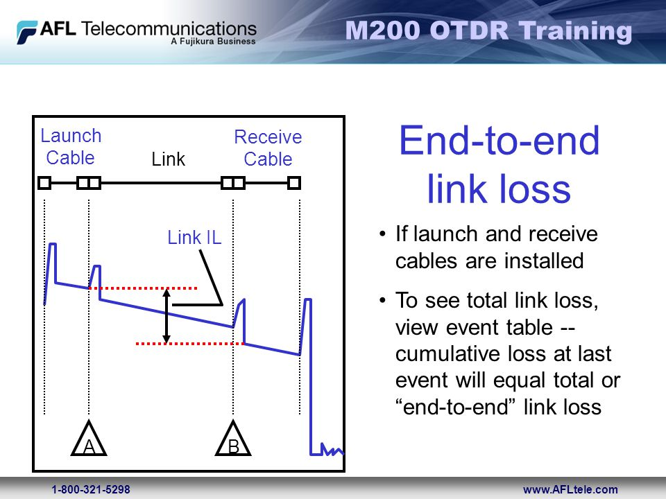 M200 OTDR Training 1-800-321-5298www.AFLtele.com If launch and receive cables are installed To see total link loss, view event table -- cumulative los
