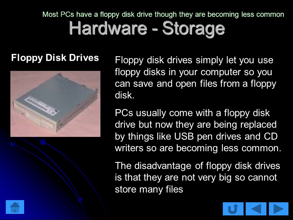 Hardware - Storage Floppy disk drives simply let you use floppy disks in your computer so you can save and open files from a floppy disk.