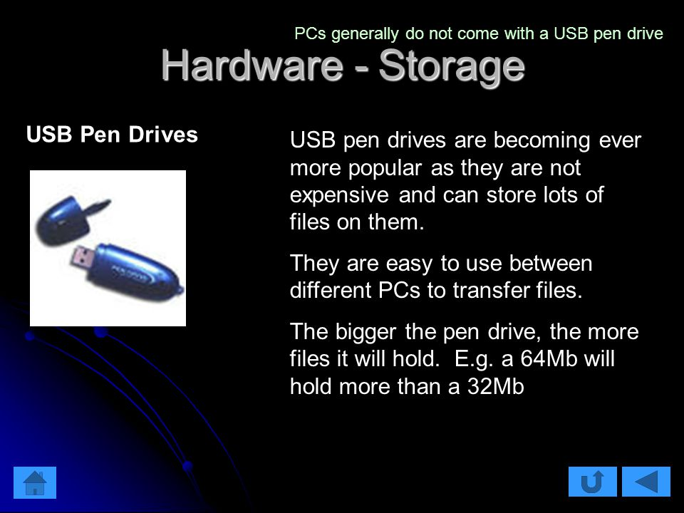 Hardware - Storage USB pen drives are becoming ever more popular as they are not expensive and can store lots of files on them.
