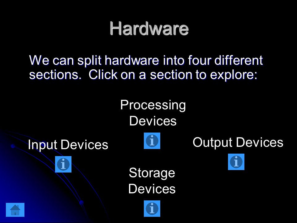Hardware We can split hardware into four different sections.