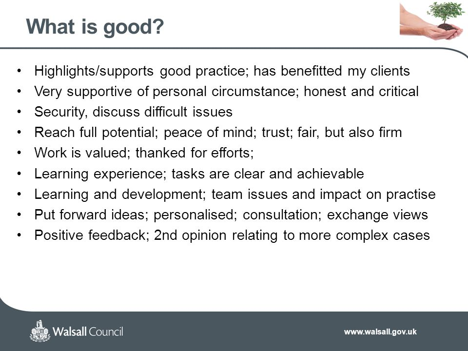 www.walsall.gov.uk What is good.