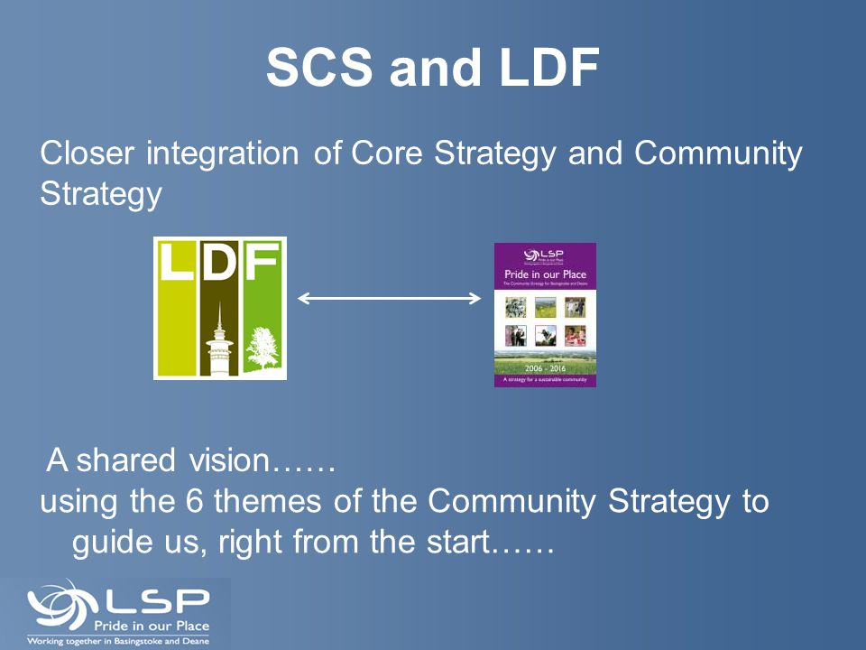 SCS and LDF using the 6 themes of the Community Strategy to guide us, right from the start…… Closer integration of Core Strategy and Community Strateg