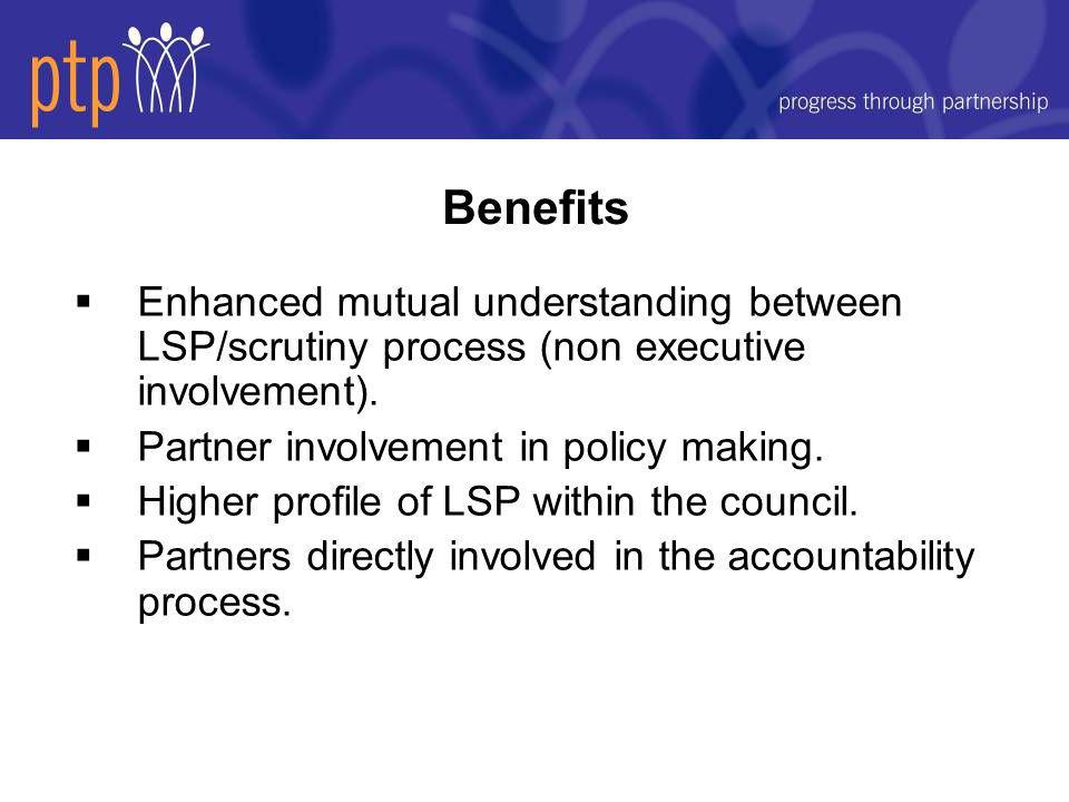  Enhanced mutual understanding between LSP/scrutiny process (non executive involvement).
