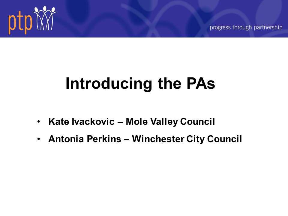 Introducing the PAs Kate Ivackovic – Mole Valley Council Antonia Perkins – Winchester City Council