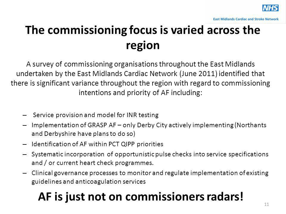 The commissioning focus is varied across the region A survey of commissioning organisations throughout the East Midlands undertaken by the East Midlan