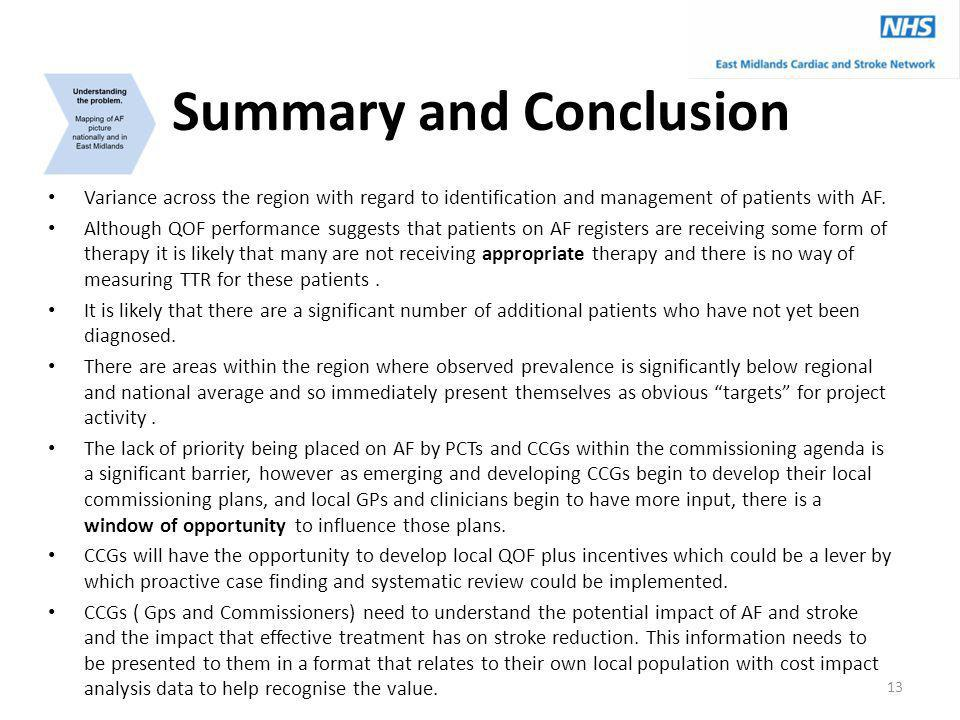 Summary and Conclusion Variance across the region with regard to identification and management of patients with AF. Although QOF performance suggests