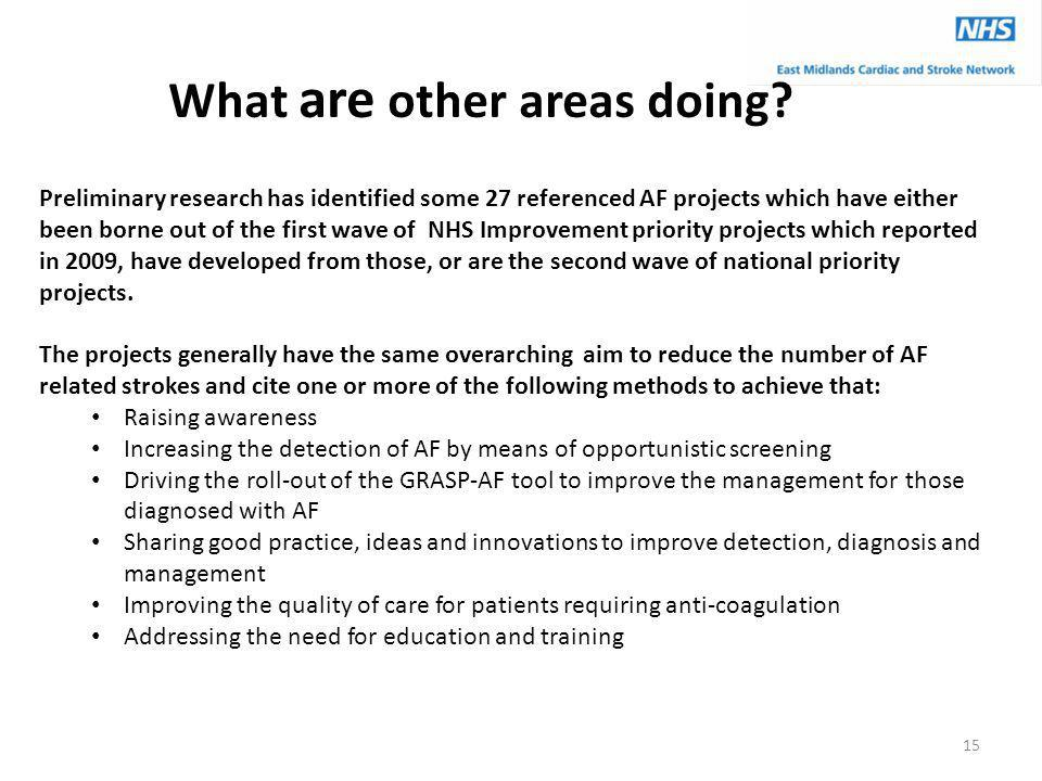 What are other areas doing? Preliminary research has identified some 27 referenced AF projects which have either been borne out of the first wave of N