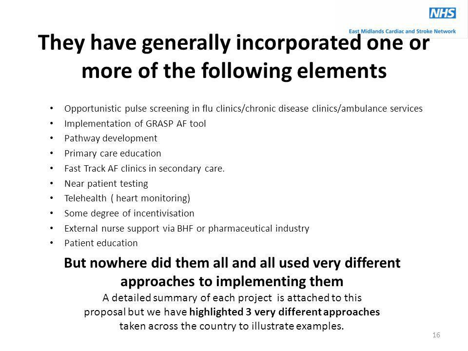 They have generally incorporated one or more of the following elements Opportunistic pulse screening in flu clinics/chronic disease clinics/ambulance services Implementation of GRASP AF tool Pathway development Primary care education Fast Track AF clinics in secondary care.