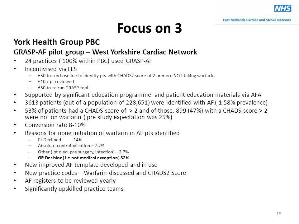 Focus on 3 York Health Group PBC GRASP-AF pilot group – West Yorkshire Cardiac Network 24 practices ( 100% within PBC) used GRASP-AF Incentivised via LES – £50 to run baseline to identify pts with CHADS2 score of 2 or more NOT taking warfarin – £10 / pt reviewed – £50 to re run GRASP tool Supported by significant education programme and patient education materials via AFA 3613 patients (out of a population of 228,651) were identified with AF.( 1.58% prevalence) 53% of patients had a CHADS score of > 2 and of those, 899 (47%) with a CHADS score > 2 were not on warfarin ( pre study expectation was 25%) Conversion rate 8-10% Reasons for none initiation of warfarin in AF pts identified – Pt Declined 14% – Absolute contraindication – 7.2% – Other ( pt died, pre surgery, infection) – 2.7% – GP Decision( i.e not medical exception) 32% New improved AF template developed and in use New practice codes – Warfarin discussed and CHADS2 Score AF registers to be reviewed yearly Significantly upskilled practice teams 18