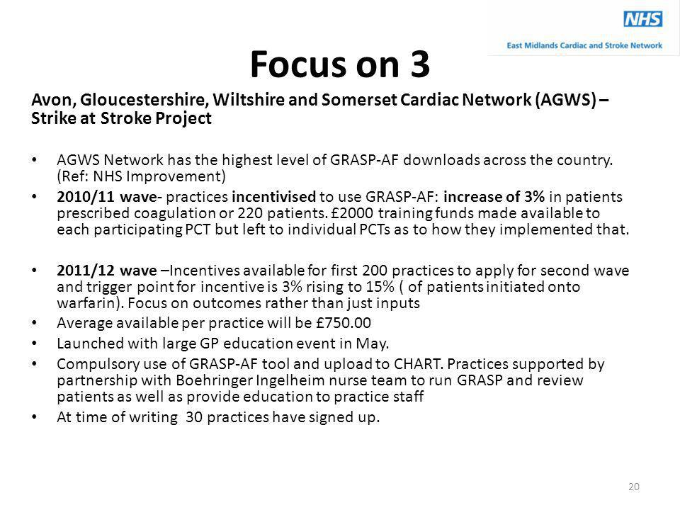 Focus on 3 Avon, Gloucestershire, Wiltshire and Somerset Cardiac Network (AGWS) – Strike at Stroke Project AGWS Network has the highest level of GRASP-AF downloads across the country.
