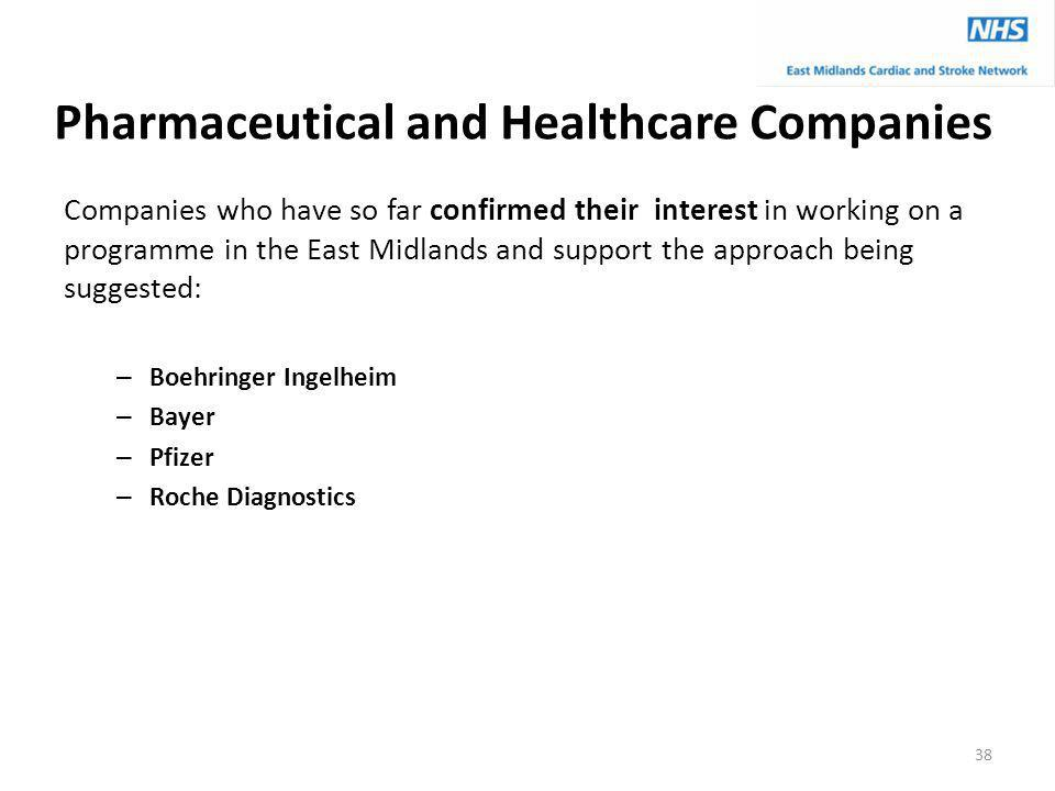 Pharmaceutical and Healthcare Companies Companies who have so far confirmed their interest in working on a programme in the East Midlands and support the approach being suggested: – Boehringer Ingelheim – Bayer – Pfizer – Roche Diagnostics 38