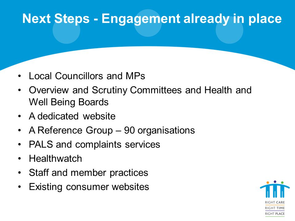 Next Steps - Engagement already in place Local Councillors and MPs Overview and Scrutiny Committees and Health and Well Being Boards A dedicated website A Reference Group – 90 organisations PALS and complaints services Healthwatch Staff and member practices Existing consumer websites