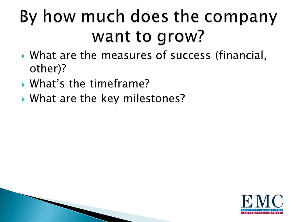  What are the measures of success (financial, other)?  What's the timeframe?  What are the key milestones?